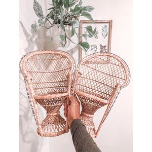 Set of 2 Vintage Rattan Peacock Chairs
